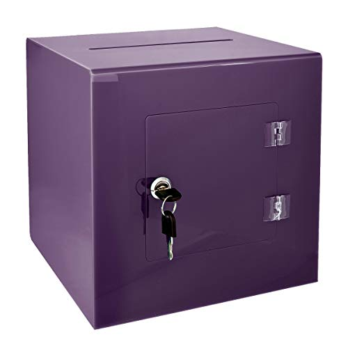 AdirOffice 10'' x 10'' Acrylic Ballot Box Donation Box with Easy Open Rear Door - Durable Acrylic Box with Lock - Ideal for Voting, Charity & Suggestion Collection - Purple