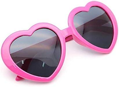 Yデパートセンター55® パーティーサングラス ハート型 UVカット 眼鏡 めがね メガネ コスプレ (ローズピンク)