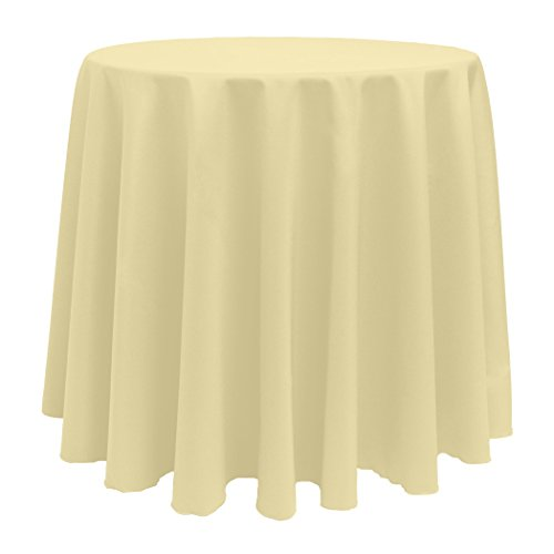 Ultimate Textile (10 Pack) 108-Inch Round Polyester Linen Tablecloth - for Wedding, Restaurant or Banquet use, Honey Light Brown by Ultimate Textile (Image #1)