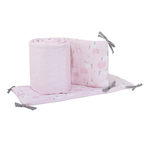 NoJo Unicorn 4 Piece Nursery Crib Bumper, Pink, White, Silver (Piece Crib Doll 4)