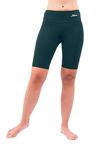 Nirlon Yoga Shorts for Women Athletic Running Jogging & Sport Short Yoga Pants Best Workout Short Leggings 9″ Inseam (L, Petrol)