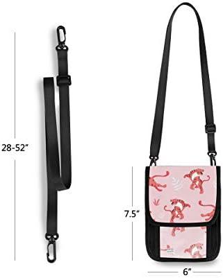トラベルウォレット ミニ ネックポーチトラベルポーチ ポータブル トラ柄 タイガース ピンク 漫画 小さな財布 斜めのパッケージ 首ひも調節可能 ネックポーチ スキミング防止 男女兼用 トラベルポーチ カードケース