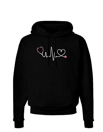 TOOLOUD Stethoscope Heartbeat Dark Hoodie Sweatshirt - Black - Small