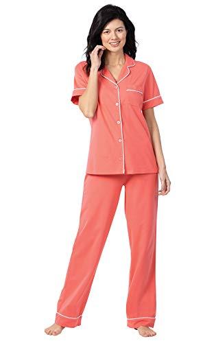 PajamaGram Cotton Womens Pajama Sets - PJs for Women Set, Coral, XL 18