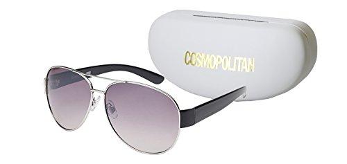 (Cosmopolitan Sunglasses Women's Liv Aviator Lens Style, Black, 64)