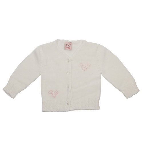 Zip Zap Baby Girls White V-Knit Button Through Cardigan With Heart Stitch Front
