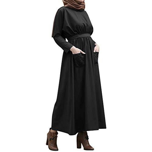 Muslim Dress Women Summer Solid Pearls Embellished Flowy Dress Casual Loose Kaftan Party Long Dresses with Pockets Black by BingYELH Muslim (Image #4)