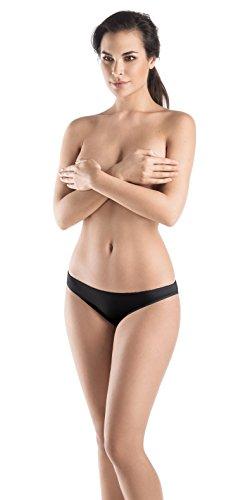 Satin Bikini Panty (Hanro Women's Satin Deluxe Bikini, Black, Medium)