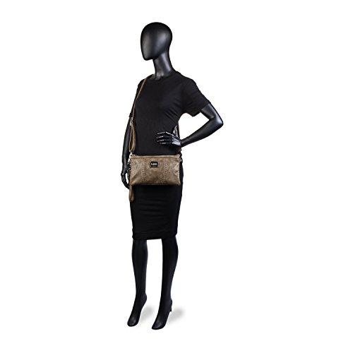 LOIS - Damen Umhängetasche mit Handschlaufe. Detroit Kollektion., Color Eis Taupe