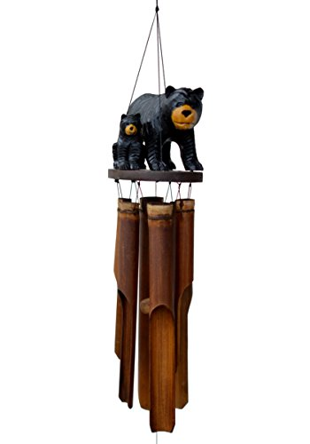 Cohasset Gifts 171BBF Cohasset Black Bear Family Bamboo Wind Chime