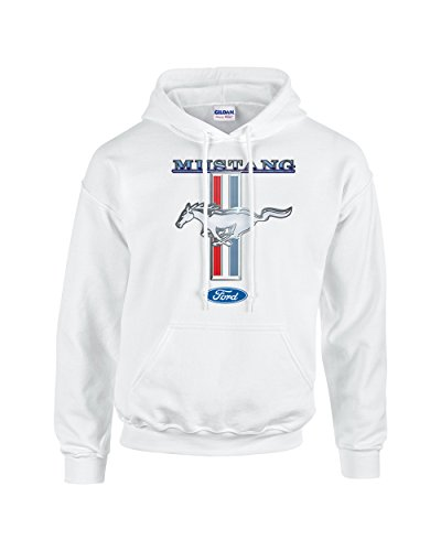 Ford Mustang Hooded Sweatshirt Mustang Pony Design-White-XL