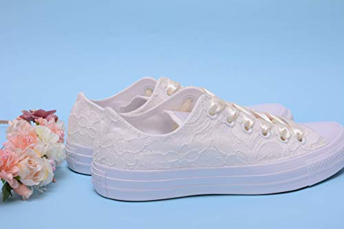 Ivory Wedding Sneakers For Bride, Lace Bridal Trainers, Awesome Bride Tennis -