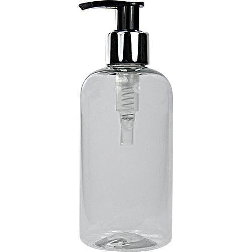 2 X 250ML Clear PET Plastic Bottles with Silver/Black Pump Dispensers PET JARS & BOTTLES