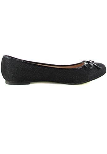 ANDRES mACHADO ballerines femme-noir chaussures en matelas grande taille