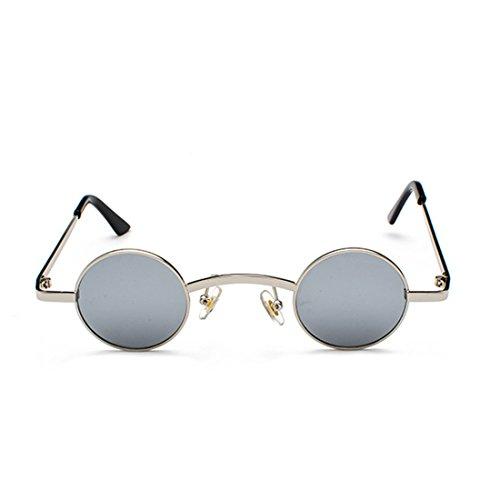 Gafas redondas Marco Gafas de sol Plata policarbonato metal Inlefen unisex Agua de de Lente de pequeñas TqHTdw