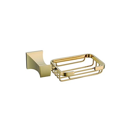 ULING SB0125 Rich Gold Chrome Soap Dish Bathroom Shower Toilet Soap Holder Saver Basket Wall Mounted