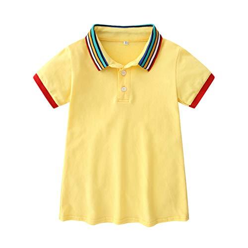 (Little Girls Baby Girls Cotton Casual Short Sve Skirt Dresses T Shirt Dress Exercise Clothes Toddler 6M-5T Yellow)