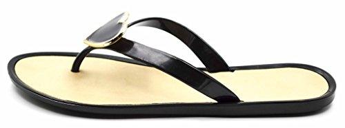 Heart Flop Sandals Albert Jelly Flip Women's Beach Black Ornament Charles Thong 1xtqwUnYYz