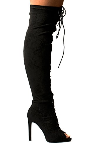 Women's Ladies Stunning Faux Suede Lace Up High Heeled Boots