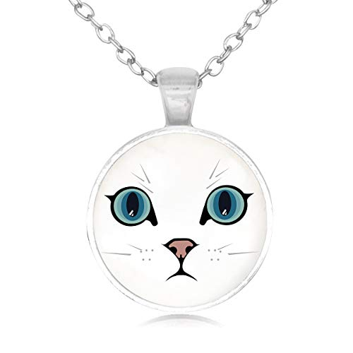 Lightrain White Cat with Blue Eyes Glass Cabochon Charm Pendant Necklace Long Sliver Chain Statement Necklace Fine Jewelry