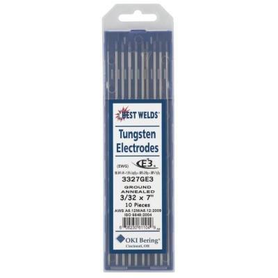 Best Welds Tungsten Electrodes, 3/32 in Dia., 7 in Long, E3