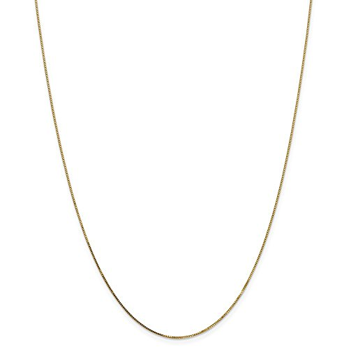 14k Gold Solid Box Chain Necklace with Spring Ring (0.6mm) - Yellow-Gold, 24 in