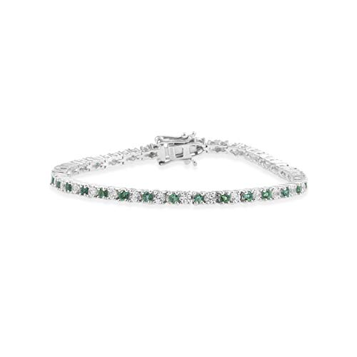 Lab Created Emerald and White Sapphire Tennis Bracelet in Sterling Silver