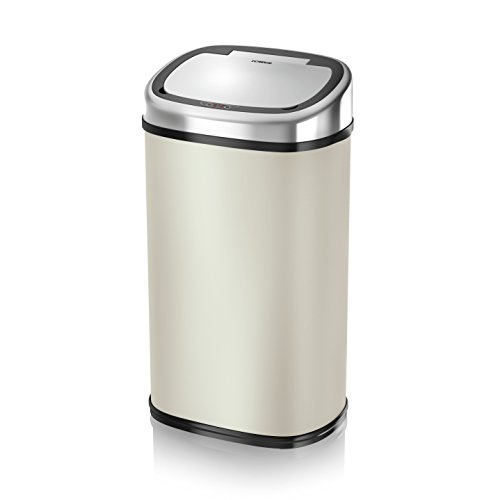 Tower T80903 Square Sensor Bin with Infrared Technology, 58 Litre, Almond