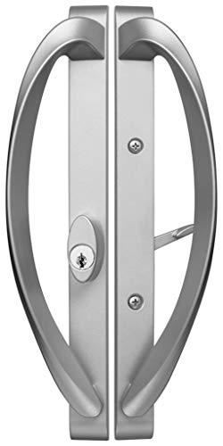 Modena Contemporary Sliding Door Handle - Misty Gray- Offset Position keylock - Fits 3-15/16
