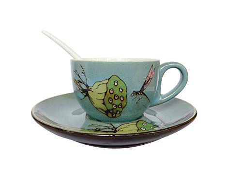 Vintage Country Style Hand-painted Ceramic Coffee Cup Mug Set With Spoon and Saucer 7.8oz Natural Pattern For Daily Morning Coffee Birthday Christmas Housewarming Gift Home Decoration (Dragonfly)