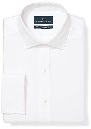 Buttoned Down Men's Tailored Fit French Cuff Spread-Collar Non-Iron Dress Shirt, White, 17