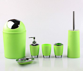 Genial 6 Piece Bathroom Accessory Set   Trendy Plastic Green Silver