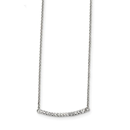 925 Sterling Silver Cubic Zirconia Cz 18 Inch Bar Chain Necklace Pendant Charm Fine Jewelry Gifts For Women For Her