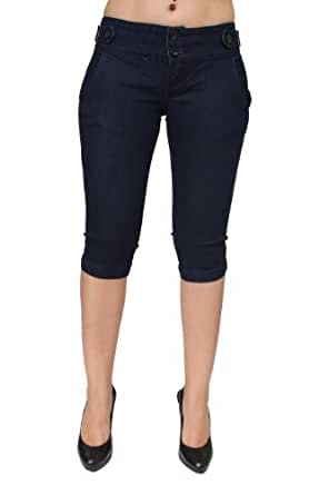 Low Waist Colombian Style Capri Jeans In 2 Colors by Pasion PJ5-C-7093 (5, LBlue)