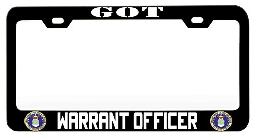 GOT WARRANT OFFICER Air Force Black Steel Metal License Plate Frame Auto Car SUV Tag ()