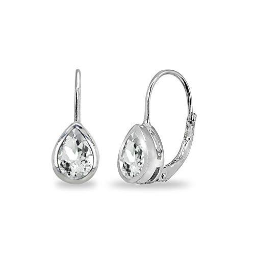 Sterling Silver Light Aquamarine 7x5mm Teardrop Bezel-Set Dainty Leverback Earrings for Women Teen Girls