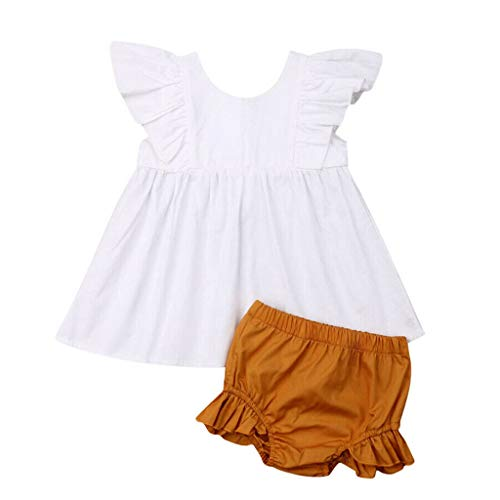 0-24 Months Infant Baby Girl Summer Striped Print Button Up Ruffle Sleeve Ruched Blouse Tops+ Briefs Shorts Outfits 2Pcs Set (White, 6-12 Months)