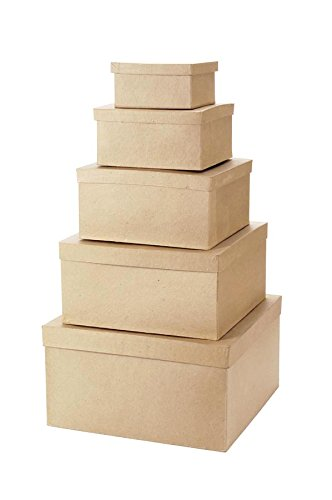 (Darice 5 Piece Value Pack Paper Mache Square Box Set)