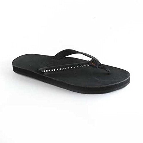 Rainbow Sandals Women's White Crystal Premier Leather Black Single Layer Size: Medium (B)M - Sandals Rainbow Crystal