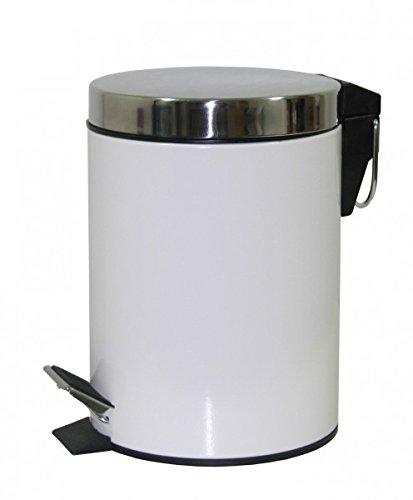 3 Liter basura - blanco - acero inoxidable cubo de basura con pedal - SW - basura - cubo - cubo - papelera