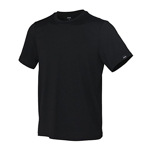Performance Nature Tencel Crewneck T-Shirts, Skin Friendly Ultra Soft & Comfort, Cool Moisture Wicking & Quick Dry, Stylish Regular Fit Men's Short Sleeves, Black X-Large One Pack
