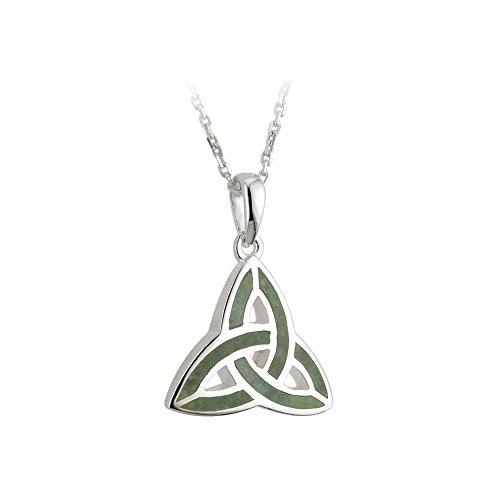 Solvar Irish Jewellery - Jewelry Irish Trinity Knot Necklace Silver & Connemara Marble 18