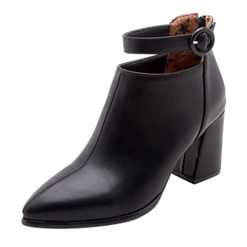 NEARTIME Women Low Booties, Autumn Ladies Pointed Belt Buckle Shoes Back Zipper Tube Women Basic Boots Black