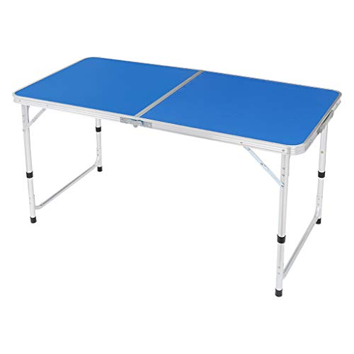 "Aluminum Folding Picnic Table, 6 Foot Portable Camping Table, 3 Adjustable Height Lightweight Table for Party Picnic Dining Outdoor Indoor, 47.2""L x 23.6""W (Blue)"