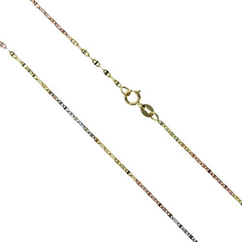 (10k Gold Rose White Yellow Tri Solid Singapore Mirror Chain Rope Link 1mm Necklace 18