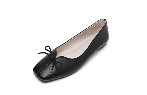Shallow Women's Square Black Shoes Flat Head Casual Mouth xq4Iqaw