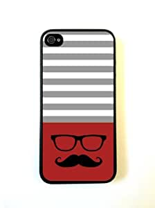 Hipster-Mustache Red & Grey Stripes Black iPhone 5 Case - For iPhone 5/5G - Designer PC Case