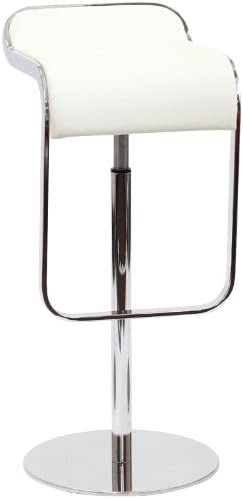 Modway LEM Style Piston Bar Stool in White Genuine Leather