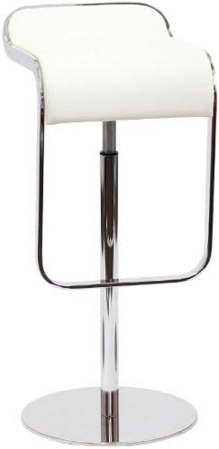 Modway LEM Style Piston Bar Stool in White Genuine Leather