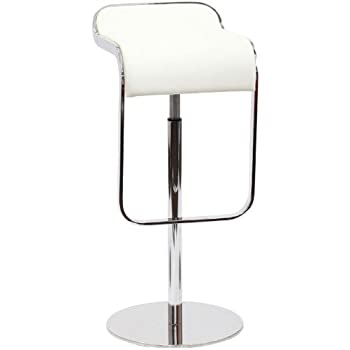 Modway LEM Style Piston Bar Stool in White Genuine Leather  sc 1 st  Amazon.com : real leather kitchen bar stools - islam-shia.org
